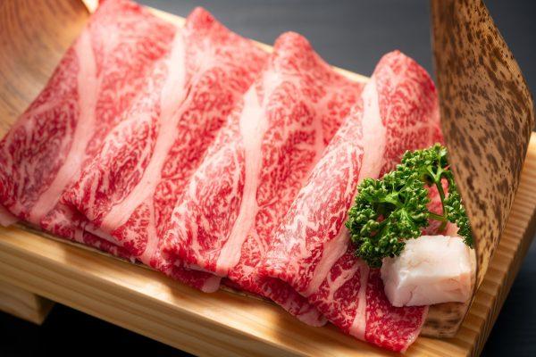 Sliced japanese marbled fatty wagyu ribeye beef