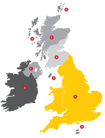 A map showing different delivery zones of the UK